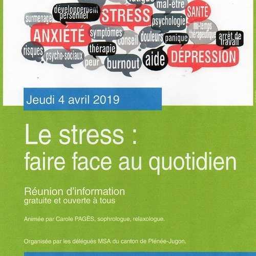 Jeudi 4 avril : le stress, faire face au quotidien