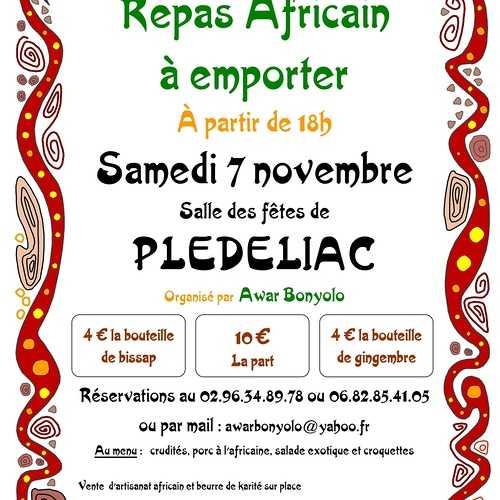 Samedi 7 novembre : repas africain à emporter - annulation en raison du confinement