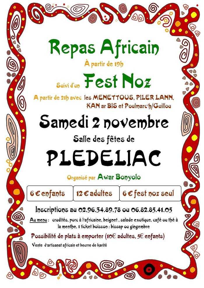 Retour en vidéo sur le repas africain et fest noz du 2 novembre affiche2019