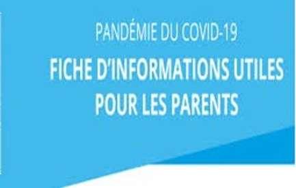 Fiche d''informations utiles pour les parents 0