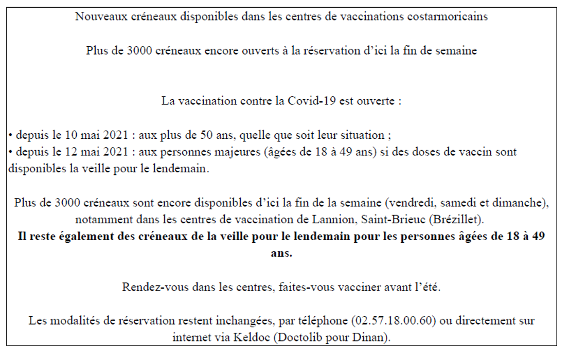 Nouveaux créneaux disponibles dans les centres de vaccination costarmoricains 0