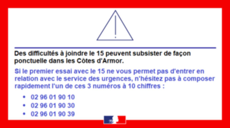 Communiqué de la Préfecture des Côtes-d''Armor : Appels d''urgences 0