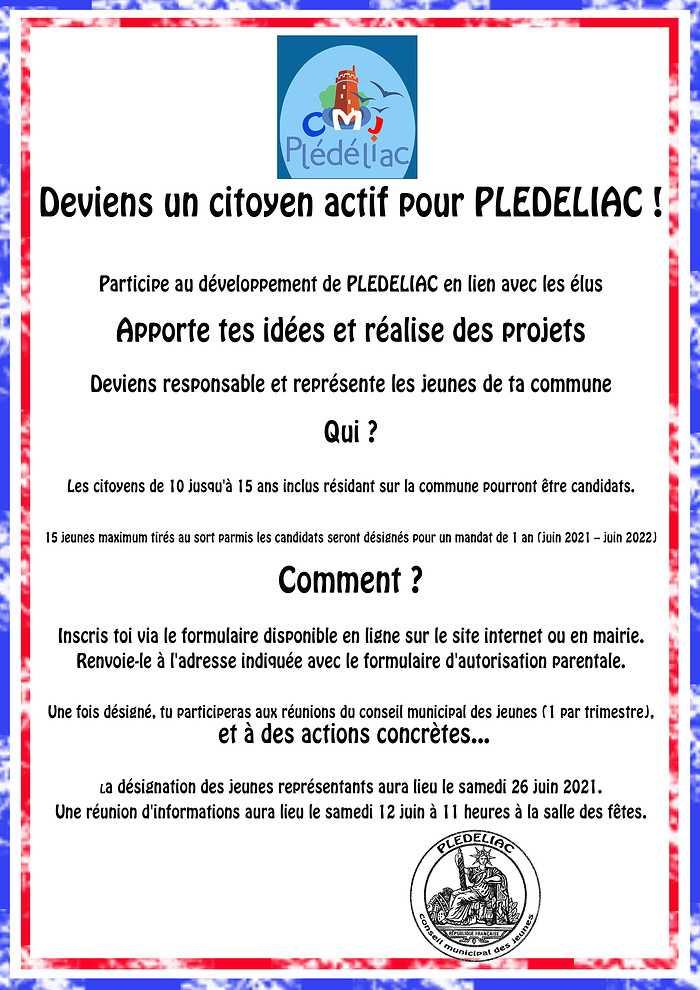 Deviens un citoyen actif pour PLEDELIAC ! affichecmj