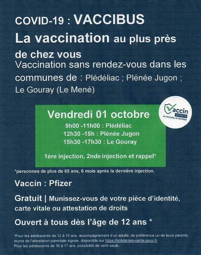 Opération vaccibus vendredi 1er octobre de 9 à 11h 0
