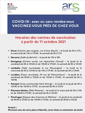 Nouveaux horaires des centres de vaccination des Côtes d''Armor synthesevacciv2